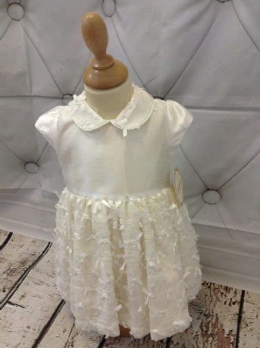 Ivory Dupion Dress with Bow Detail Collar and Skirt